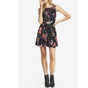 Black Floral Pleated Keyhole Fit And Flare Dress